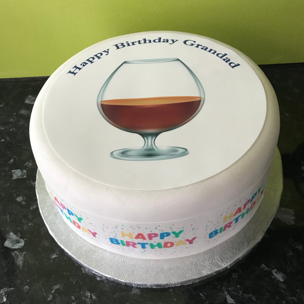 Whiskey Glass Edible Icing Cake Topper 02