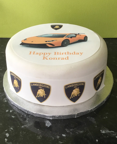 Lamborghini Racing Car 04 Edible Icing Cake Topper Orange