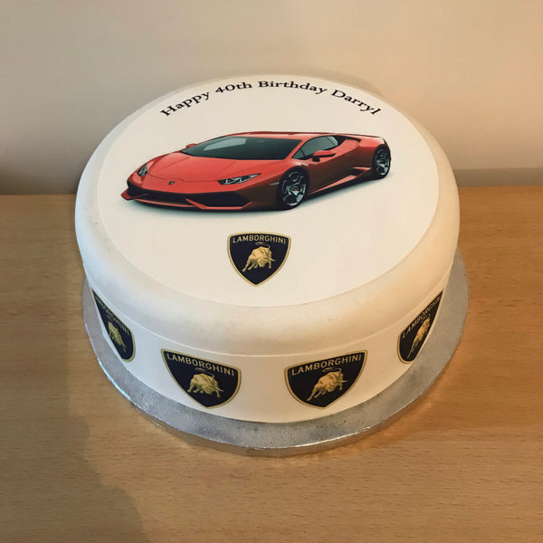 Lamborghini Racing Car 03 Edible Icing Cake Topper Red