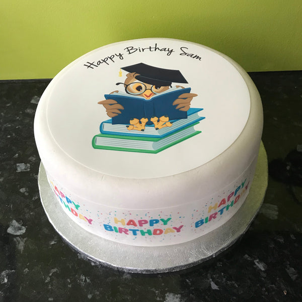 School Books Edible Icing Cake Topper