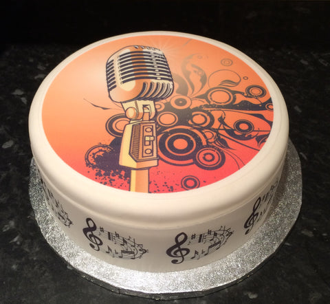 Microphone Mic Edible Icing Cake Topper 02
