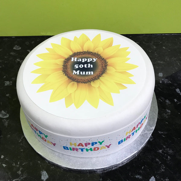 Sunflower Edible Icing Cake Topper
