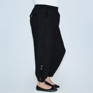 Linen Trousers Ruched with Button - 8336 - Pure Plus Clothing