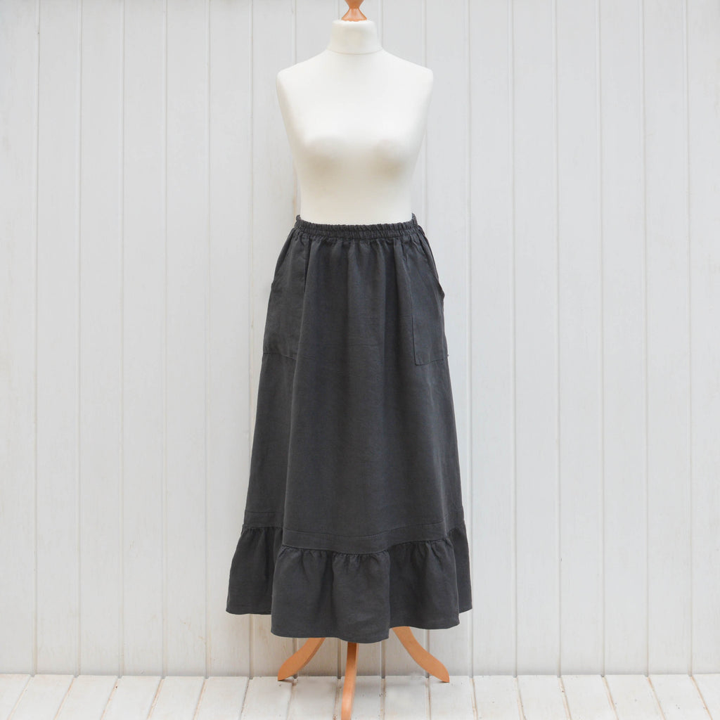 Linen Maxi Skirt with pockets 9745 - Pure Plus Clothing