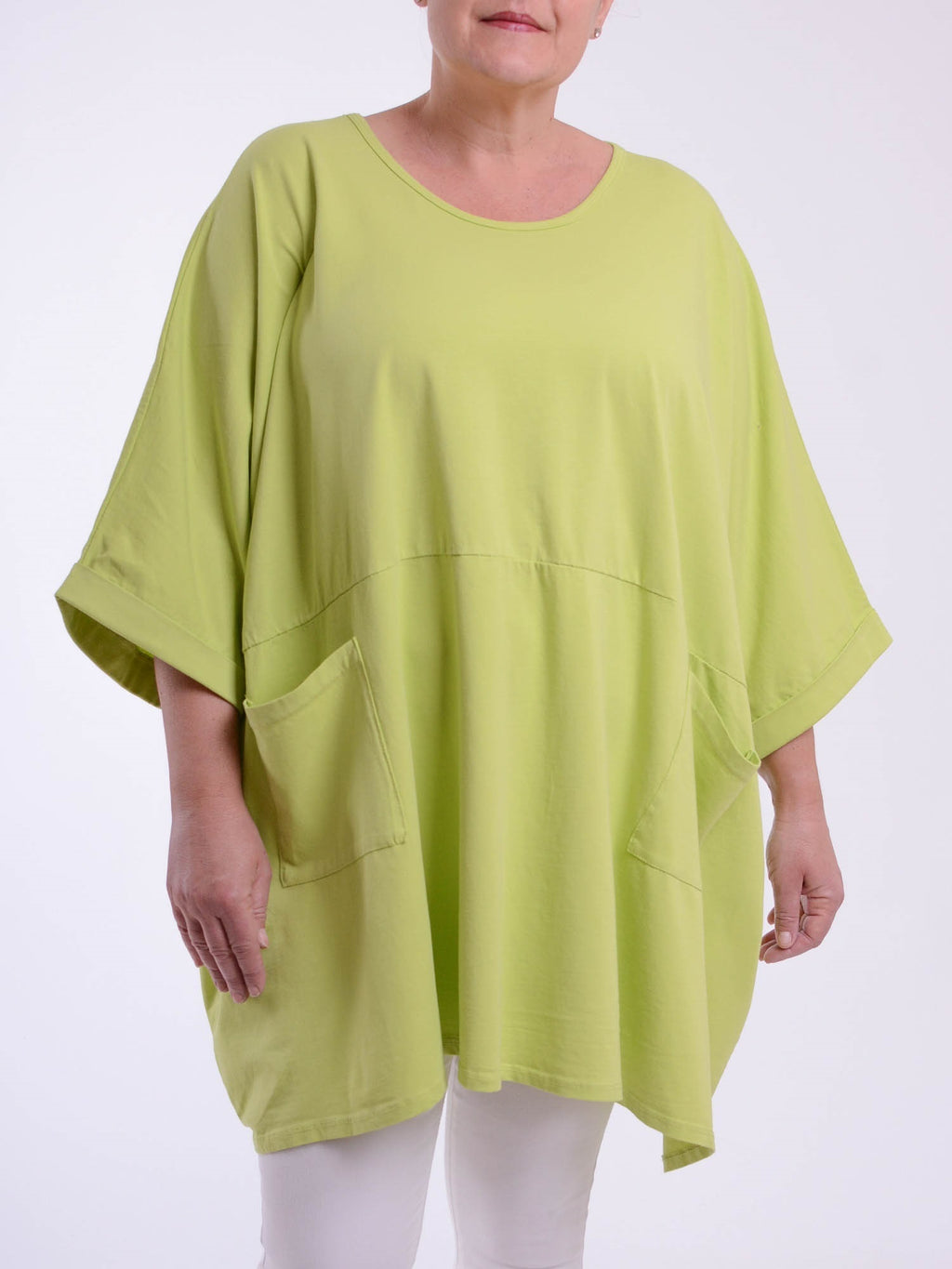 Lagenlook Oversized Jersey Cotton Tunic -10077C PLAIN - Pure Plus Clothing