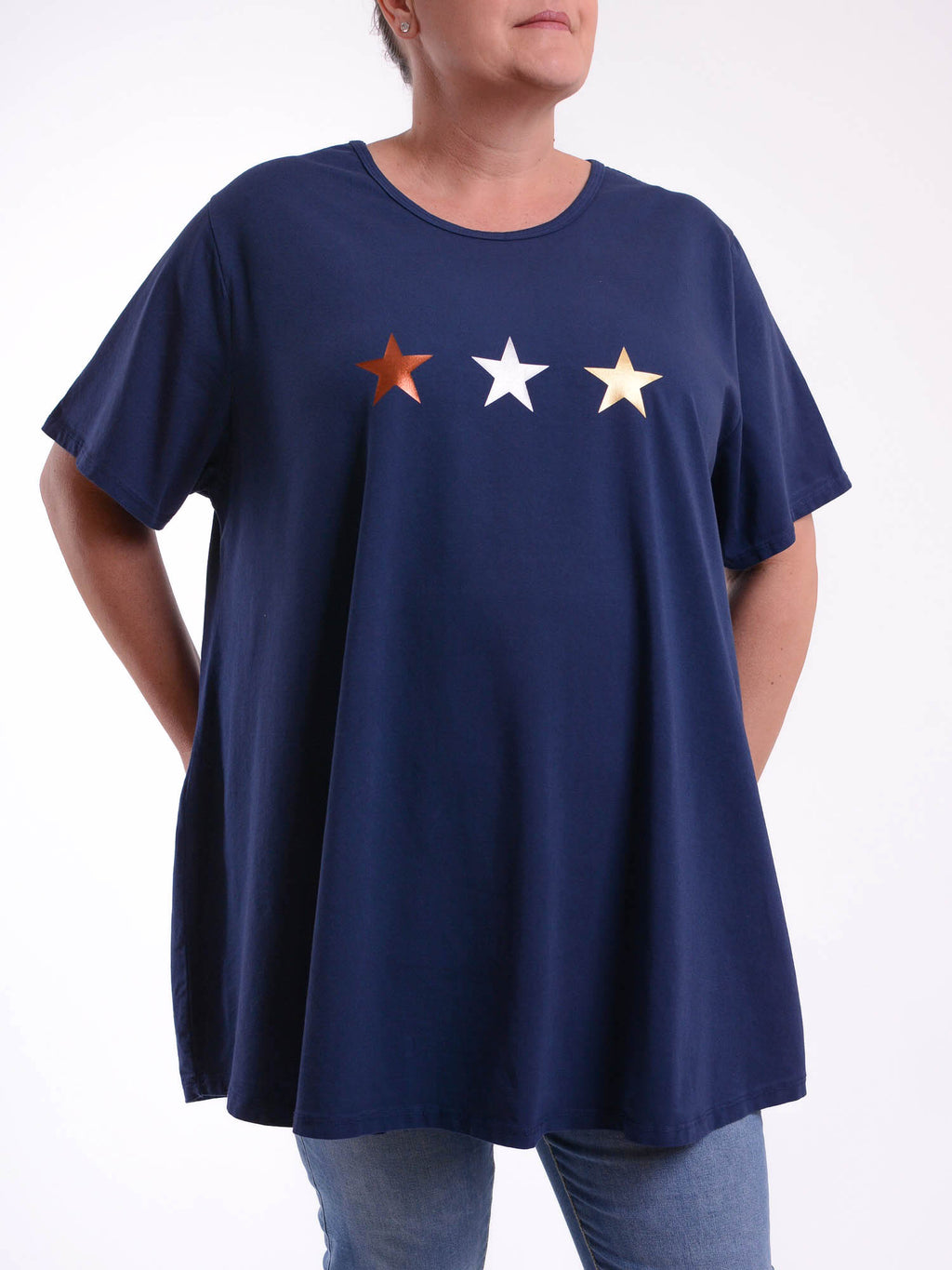 Basic Cotton Swing T Shirt - Round Neck 10516 3 STAR - Pure Plus Clothing