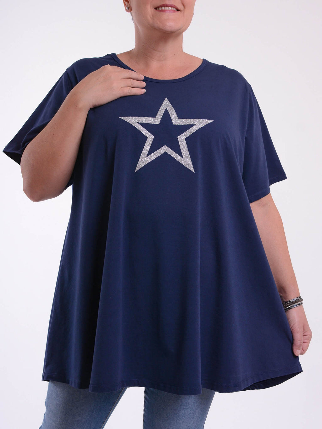 Basic Cotton Swing T Shirt - Round Neck 10516 GLITTER STAR - Pure Plus Clothing