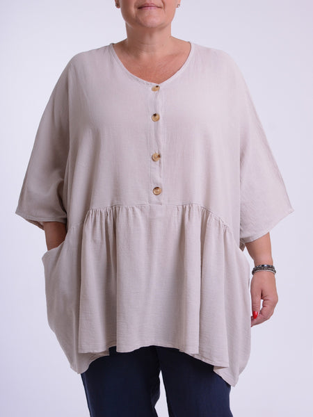 Ladies Lagenlook Plus Size Sleeveless Linen Tunic Top GRACE  8723