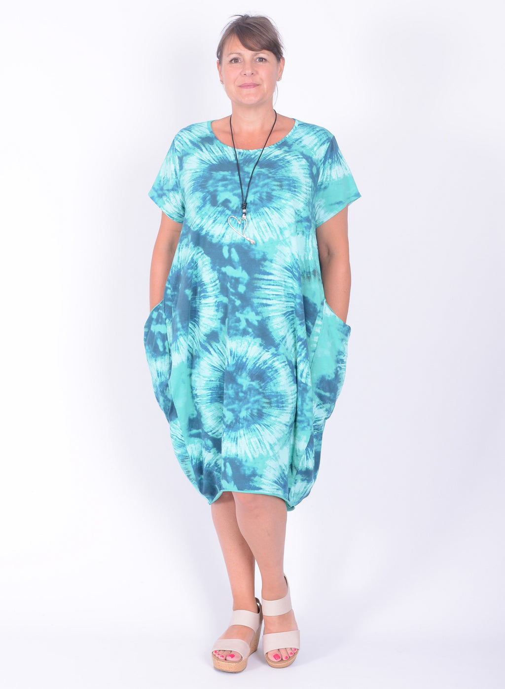 Tie Dye Circle Print Cotton Lagenlook Dress - 7080 - Pure Plus Clothing