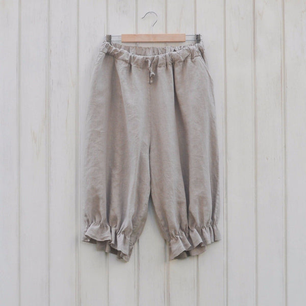 Lagenlook Plus Size Linen Bloomer Style Vintage Long Shorts - 5602