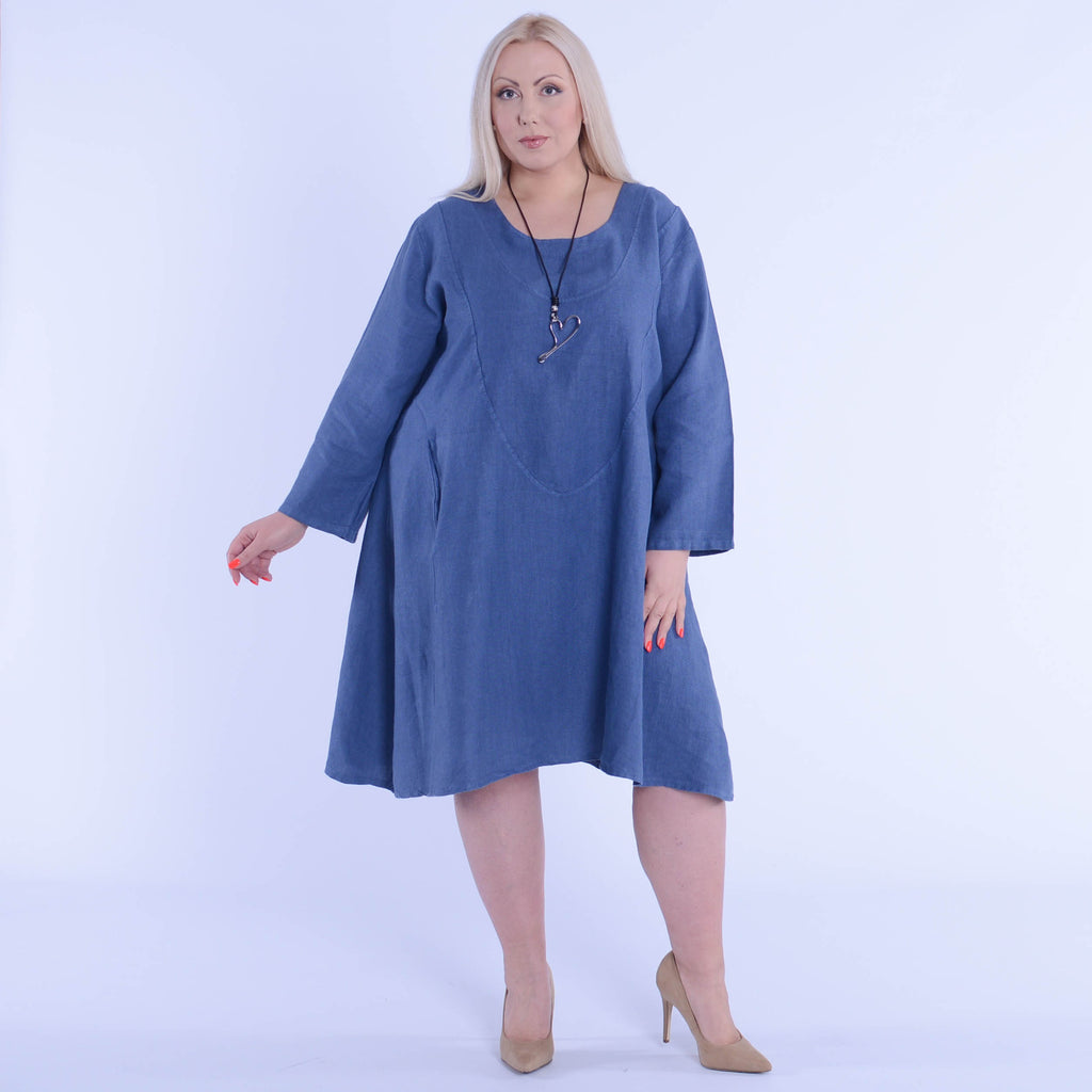 Womens Lagenlook Heavy Linen Dress with Pockets - 9405 - Pure Plus Clothing