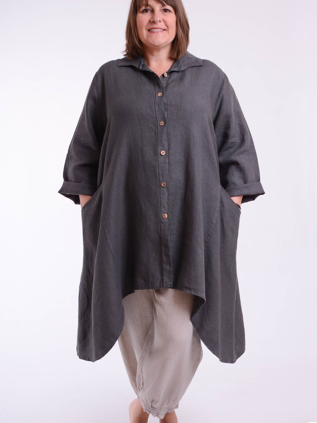 Plus Size Lagenlook Heavy Linen Shirt Dress 9445 - Pure Plus Clothing