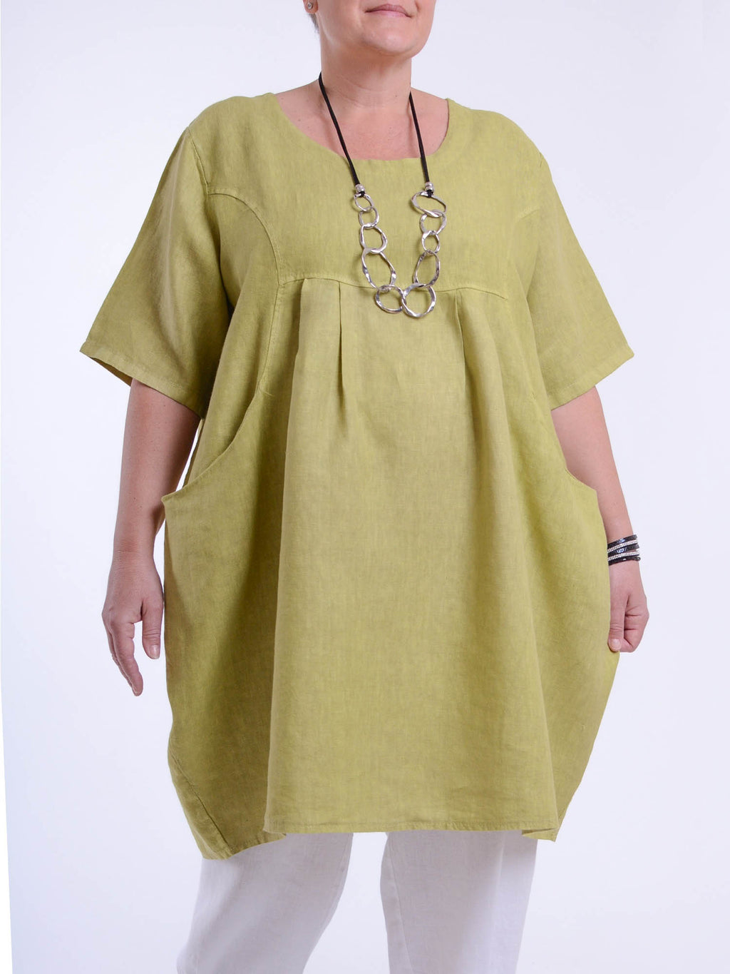 Heavy Linen Quirky Tunic Short Sleeve 9457 - Pure Plus Clothing