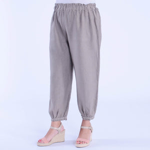 Lace Trim Linen Trousers - 9466