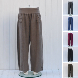 Heavy Linen Trousers with Front Pockets - 9762 - Pure Plus Clothing