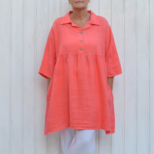 Coral Linen Smock Top, Plus Size Lagenlook, Womens Plus Size Clothing