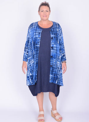 Oversized Button up Top with Pockets - Blue - 1382 - Pure Plus Clothing