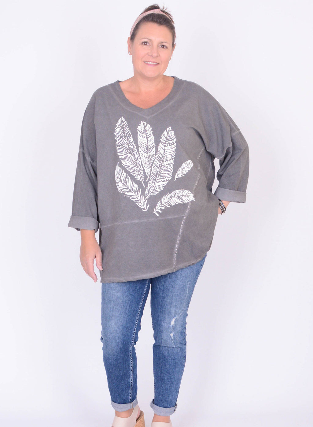 Feather print sweatshirt - 8021 - Pure Plus Clothing