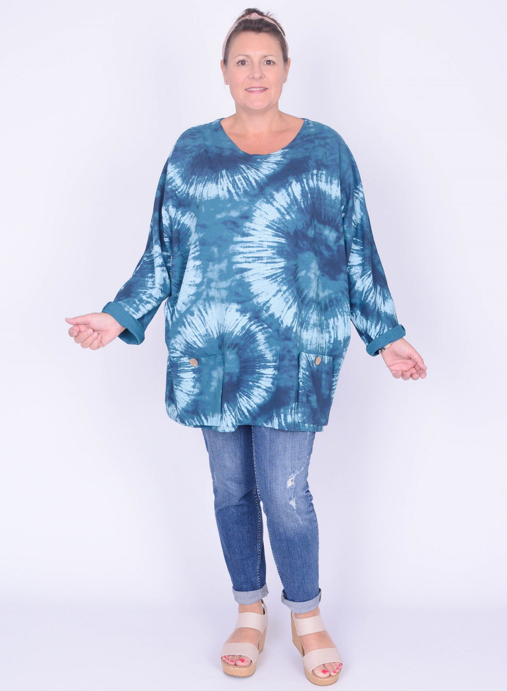 Tie Dye Button Pocket Top - 10470 - Pure Plus Clothing
