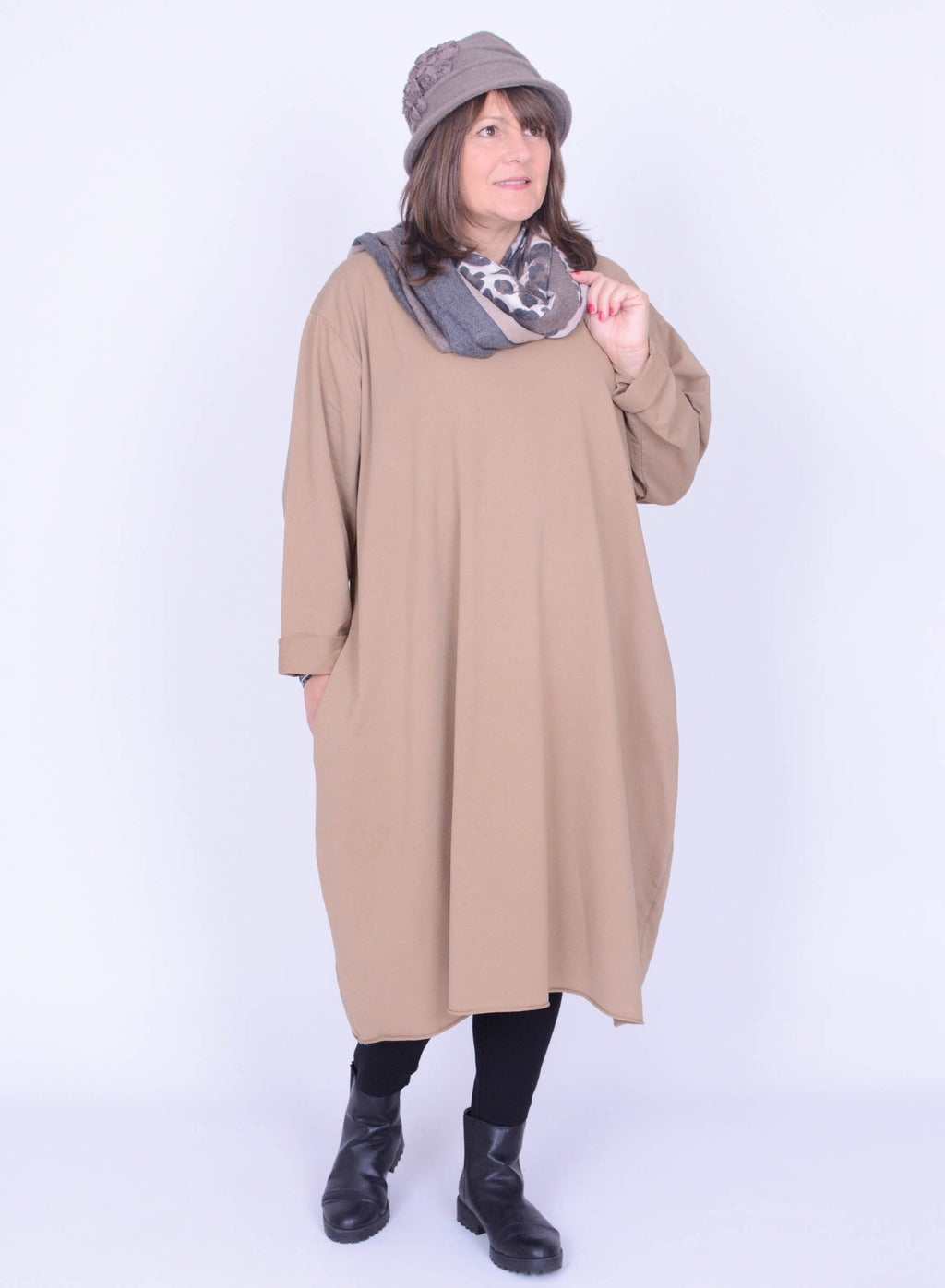 V Neck Long Tunic Dress with Pockets - 20330 - Pure Plus Clothing