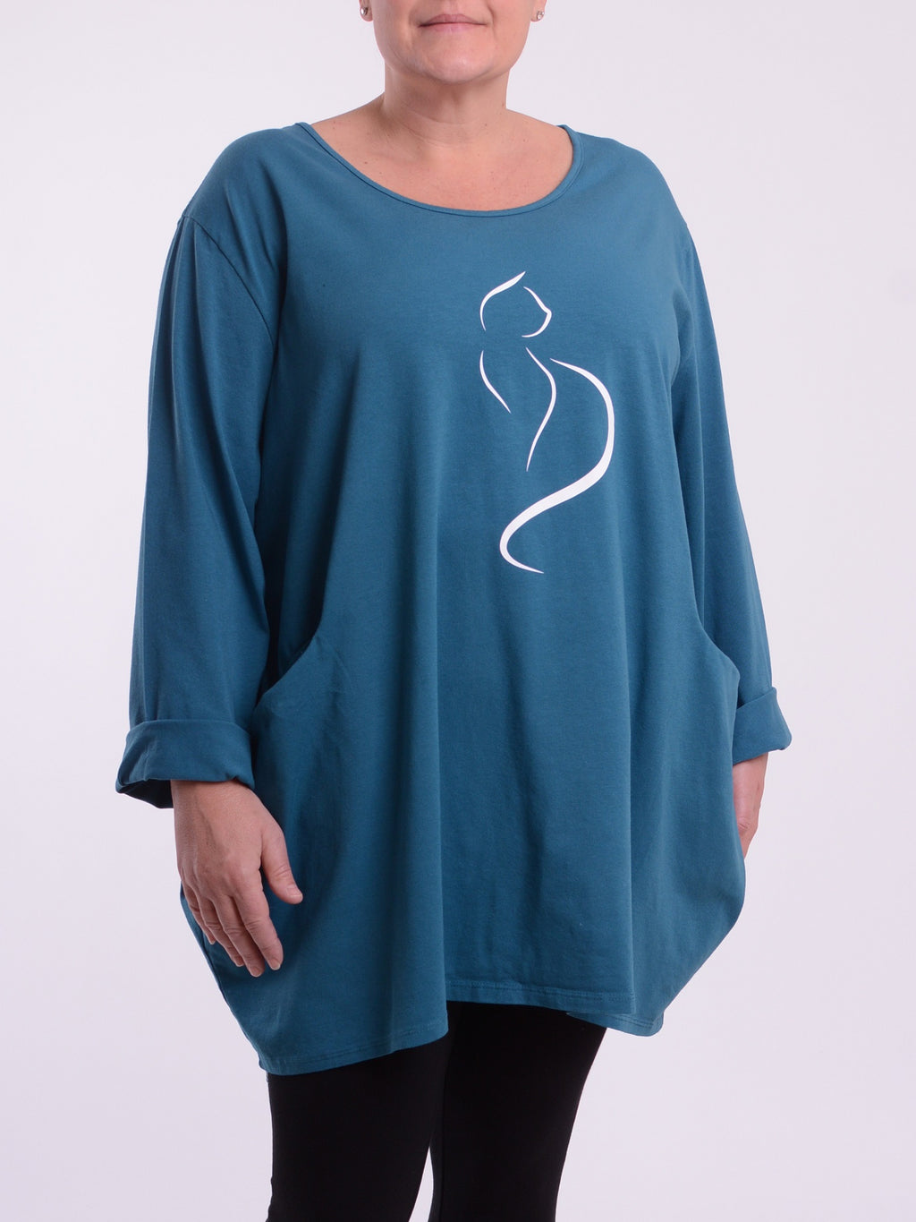Basic Long Sleeve Tunic Top 9458 - Cat - Pure Plus Clothing