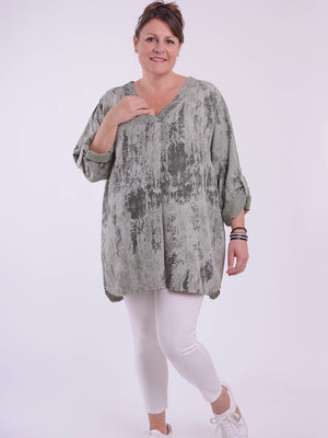 Roll up Tab Sleeve Top - 1249 - Pure Plus Clothing