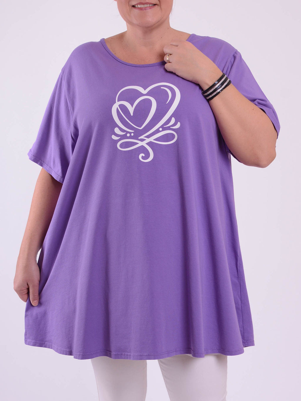 Basic Cotton Swing T Shirt - Round Neck 10516 HEART PRINT - Pure Plus Clothing