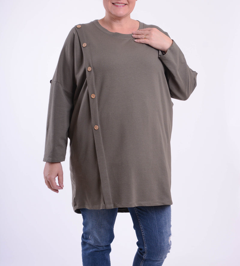 Lagenlook Buttoned Long Tunic - 12150 - Pure Plus Clothing