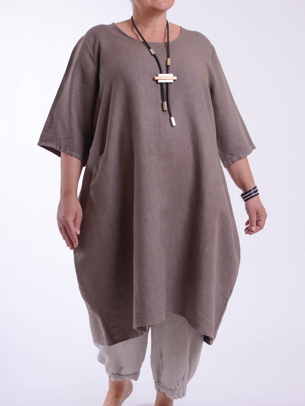 Lagenlook Basic Casual Tunic Dress 9469 - Pure Plus Clothing