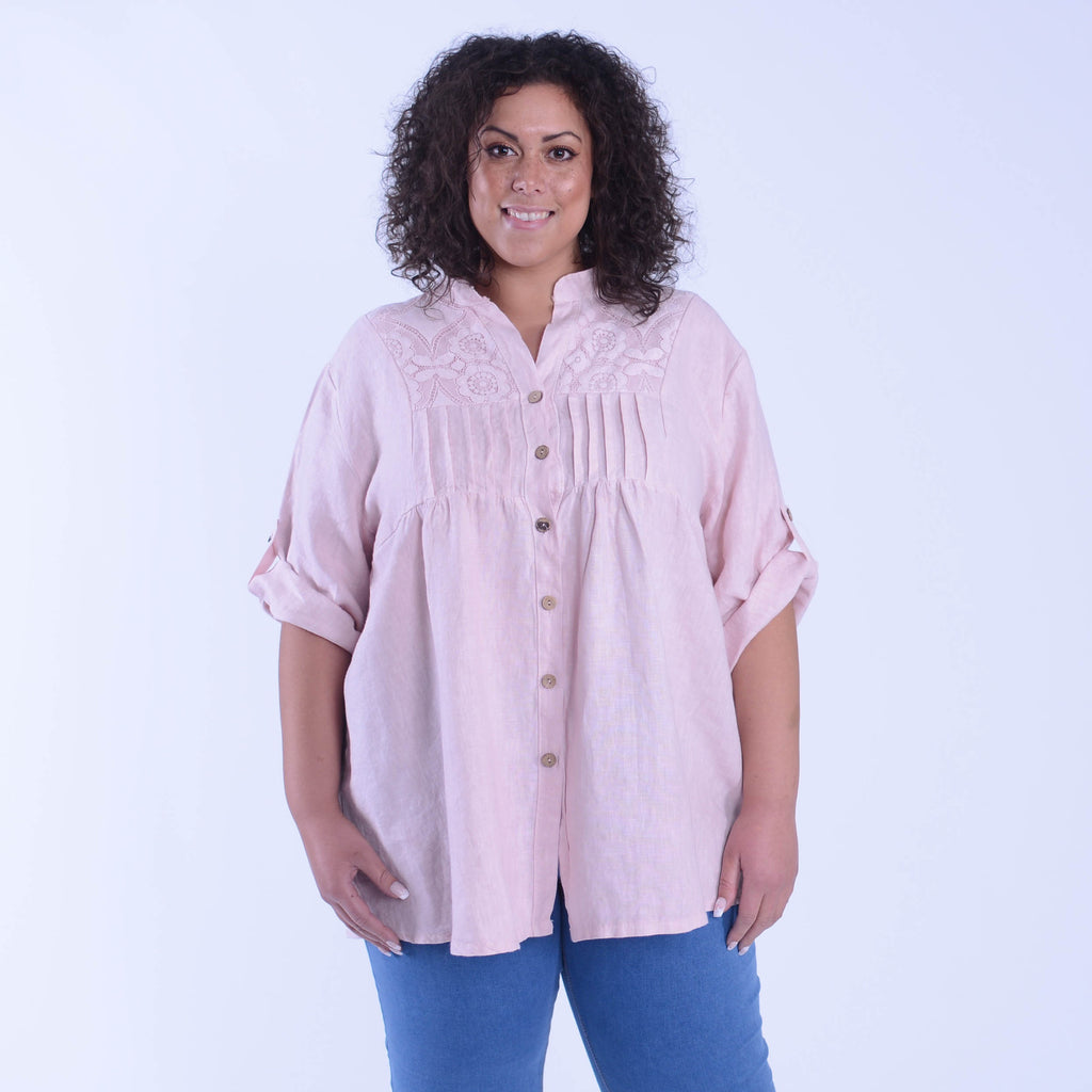 Linen Shirt with Lace Panels - 9872 - Pure Plus Clothing