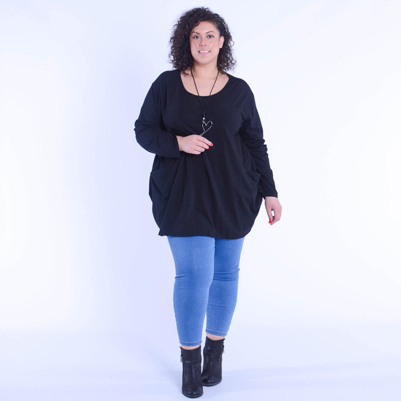 Cotton Basic Long Sleeve Tunic Top 9458 - Pure Plus Clothing