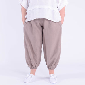 Cuffed Cotton & Linen High Waisted Trousers - 91037 - Pure Plus Clothing