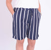 Navy Stripe Linen Blend Shorts - 38806 - Pure Plus Clothing