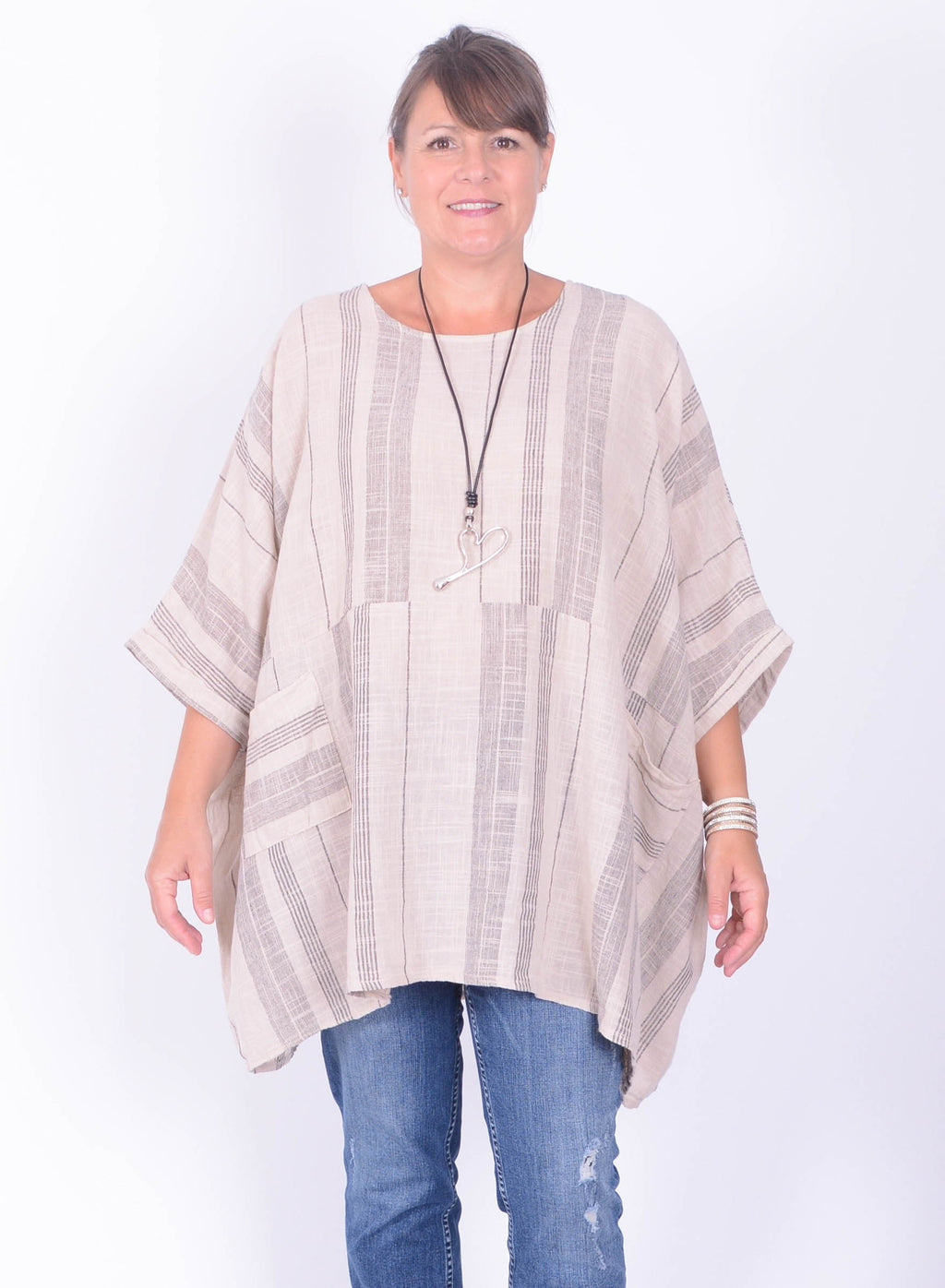 Lagenlook Oversized Cotton Tunic Striped - 288 - Pure Plus Clothing