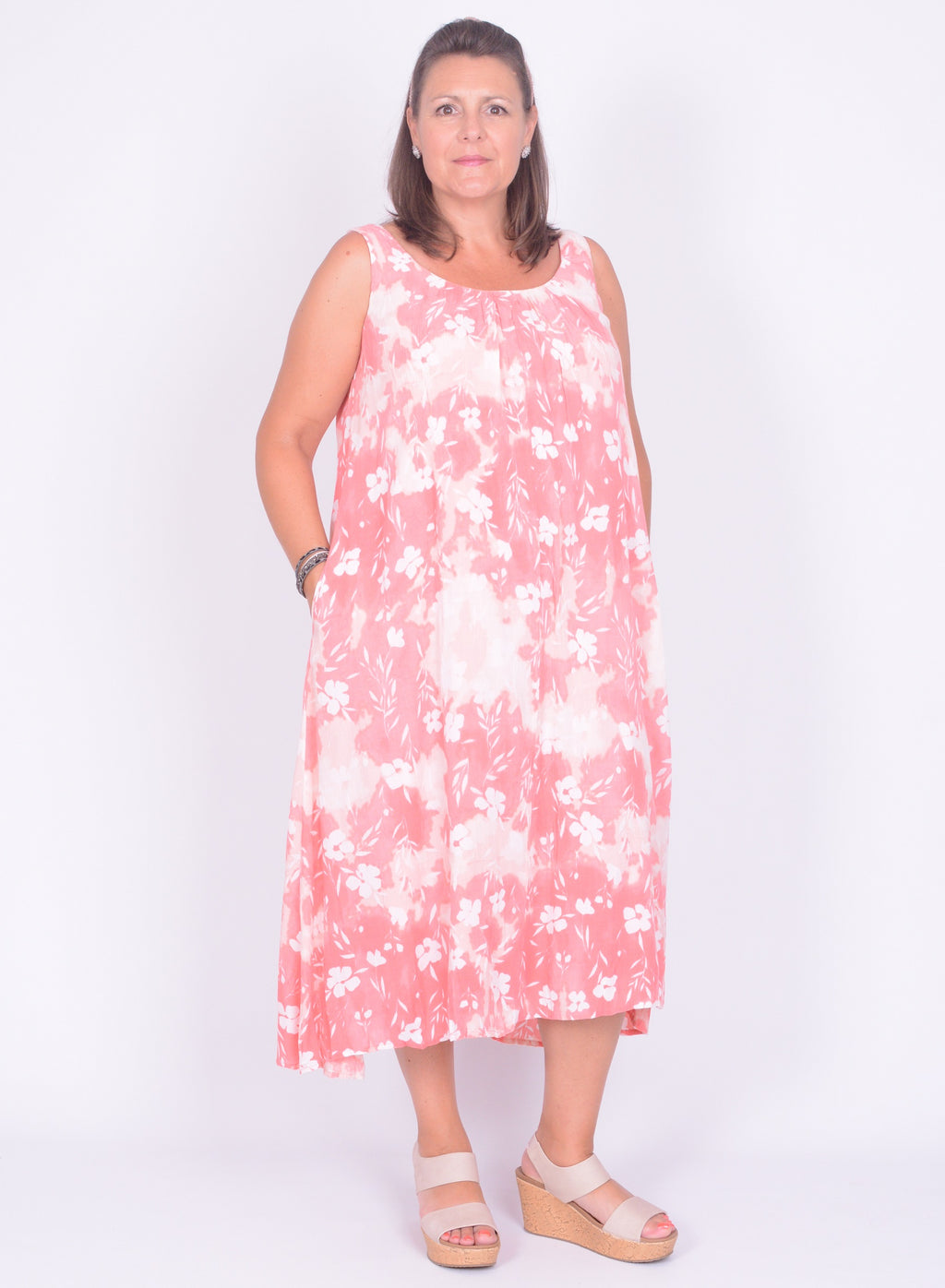 Sleeveless Floral Print Dress - 4680 - Pure Plus Clothing