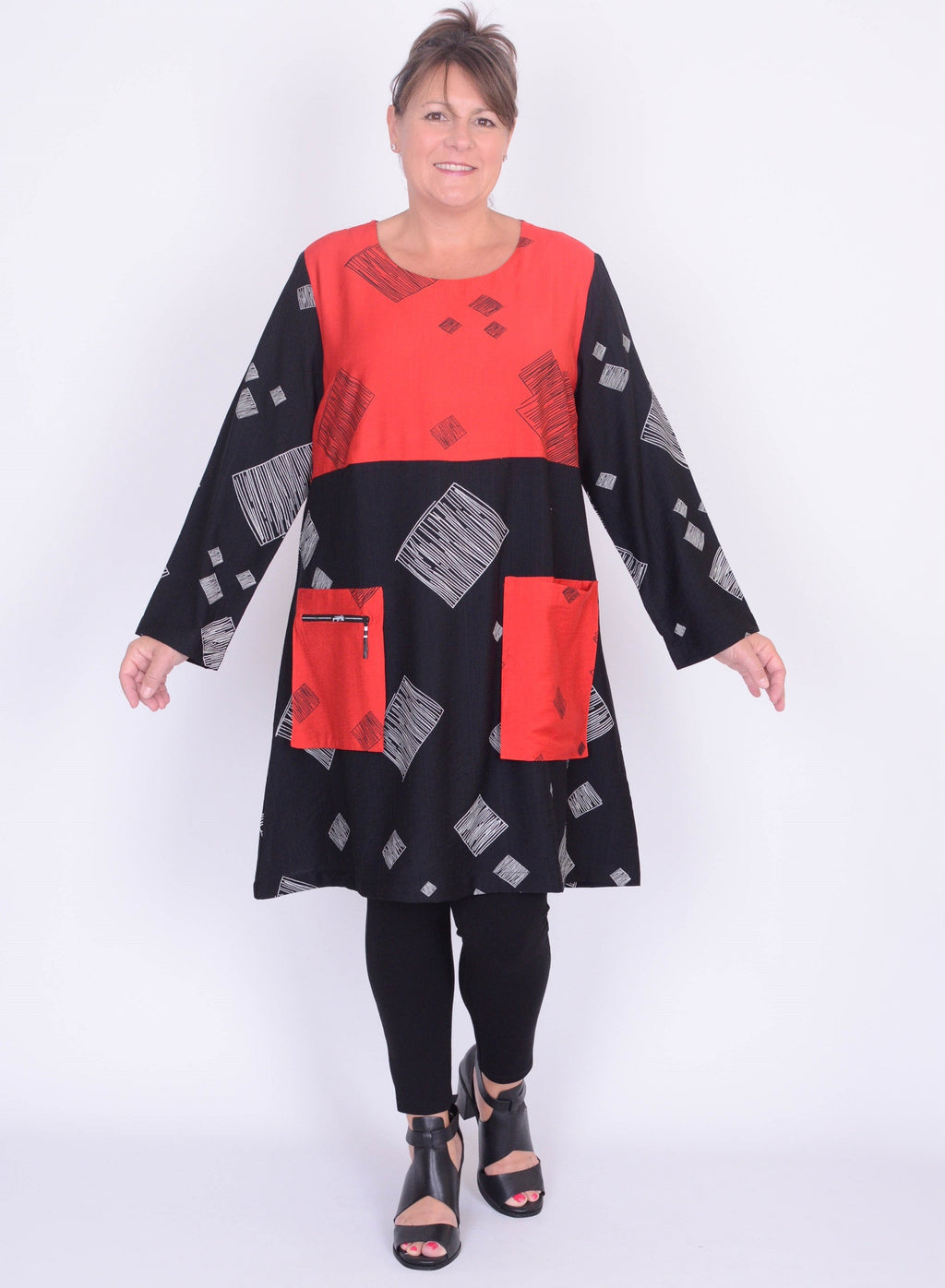 Long Double Pocket Tunic/Dress - C6135 - Pure Plus Clothing