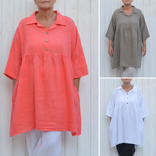 Linen Smock Top, Plus Size Lagenlook, Womens Plus Size Clothing