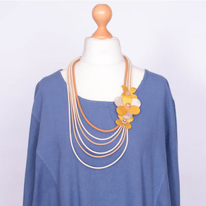Necklace  - Gold and Beige Flower - N10 GOLD - Pure Plus Clothing