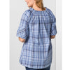 Pure Cotton Check Bardot Top - O41 - Pure Plus Clothing