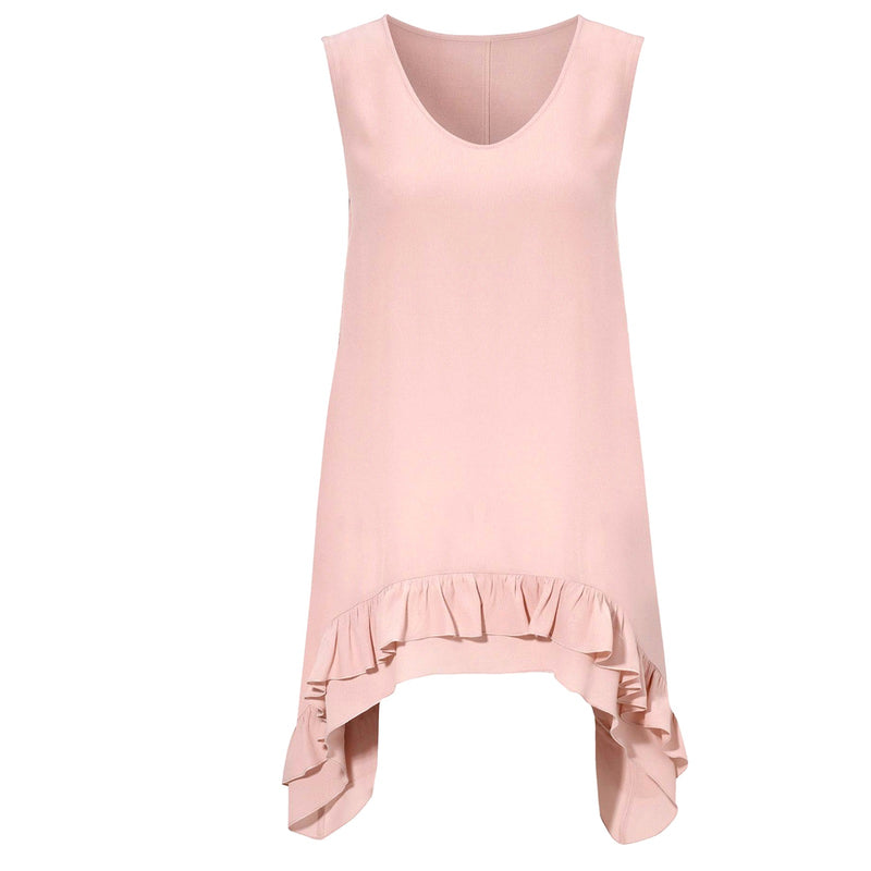 Sleeveless Asymmetric Frill Vest Top - 9109 - Pure Plus Clothing