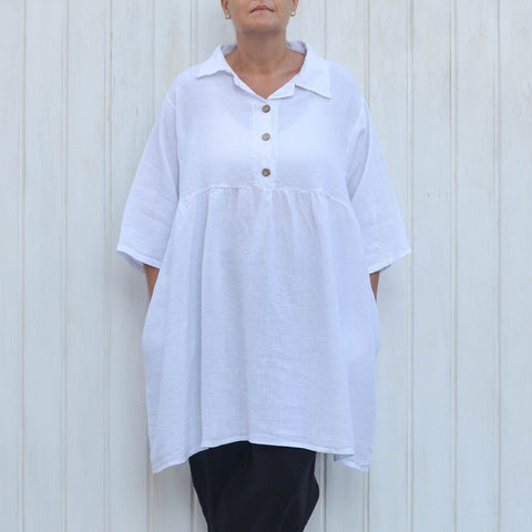 White Linen Smock Top, Plus Size Lagenlook, Womens Plus Size Clothing