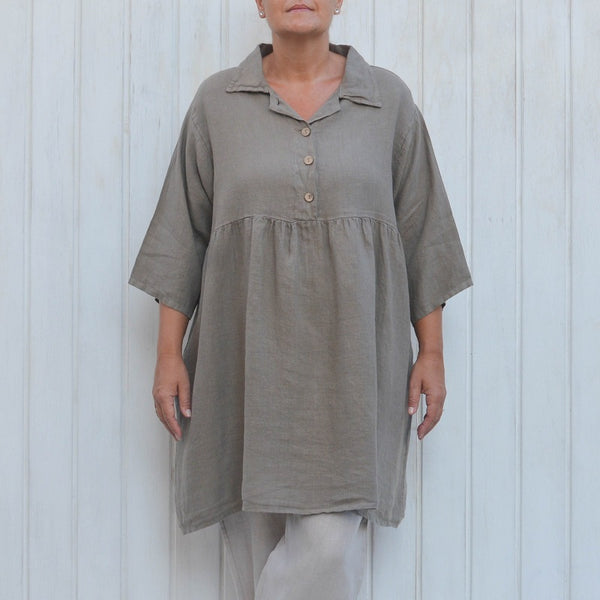 Mocha Linen Smock Top, Plus Size Lagenlook, Womens Plus Size Clothing
