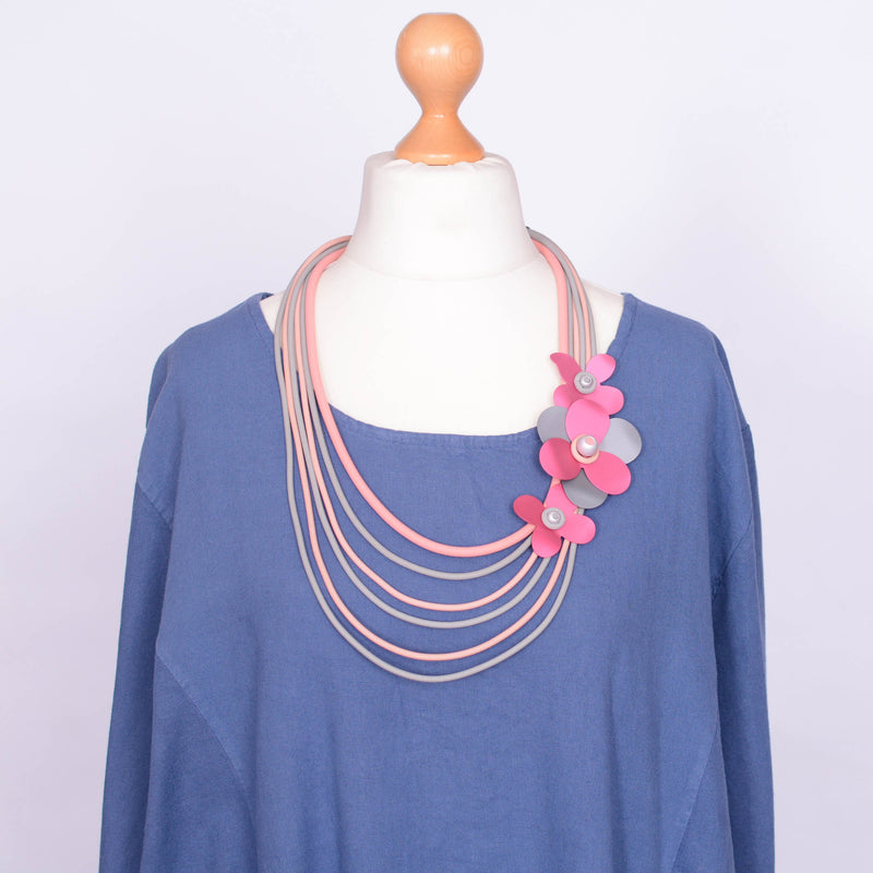 Necklace  - Grey and Pink Flower - N10 PINK - Pure Plus Clothing