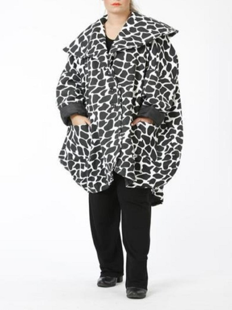 Oversized Large Collar Jacket - 1021 Animal Print - Pure Plus Clothing