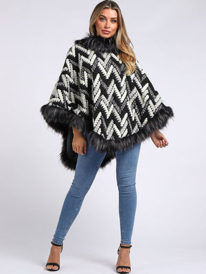 Faux Fur Poncho - 6121 - Pure Plus Clothing