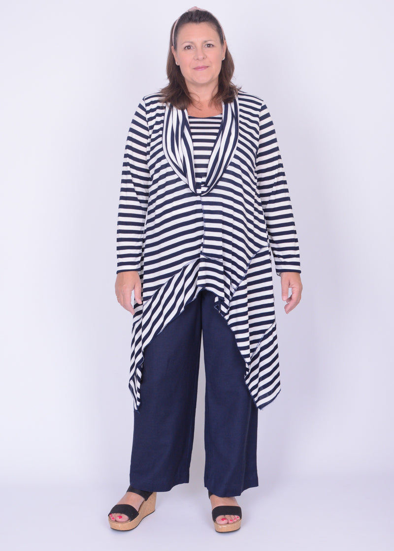 Lagenlook Navy Striped Tunic Top Asymmetric - 725 - Pure Plus Clothing