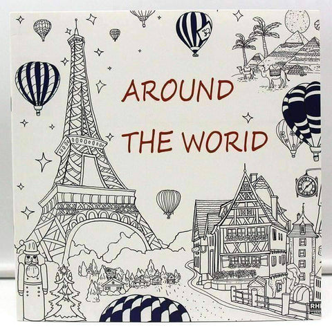 Image of Coloring Book 'Around the World' - QuantumBitz 1 PCS New 24 Pages 25*25cm Coloring Books For Kids And Adults Painting Book Around The World Coloring Books For Adults