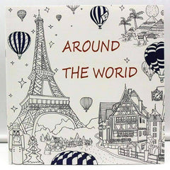 Coloring Book 'Around the World' - QuantumBitz 1 PCS New 24 Pages 25*25cm Coloring Books For Kids And Adults Painting Book Around The World Coloring Books For Adults