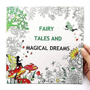 Coloring Book 'Fairy Tales & Magical Dreams' - QuantumBitz 1 PCS New 24 Pages 25*25cm English Coloring Books For Kids And Adults Painting Book Fairy Tale Adult Painting Drawing Book