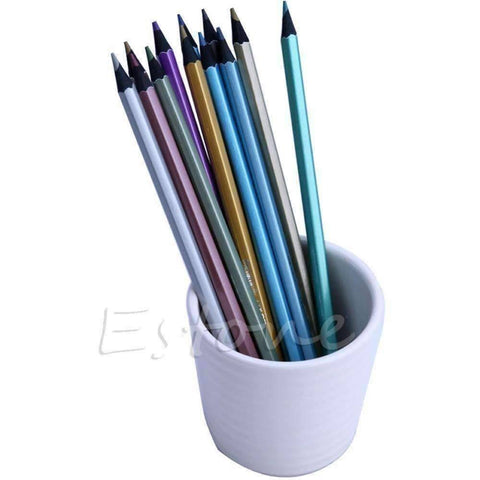 12 Metallic Color Pencil Set - QuantumBitz 12 Metallic Colored Pencil Non-toxic For Drawing Sketching Set Stationery